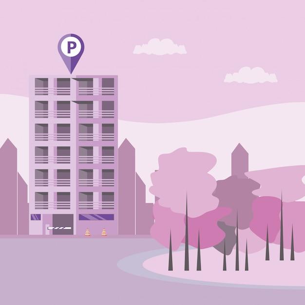 駐車場とバリケードの入り口がある建物 Premiumベクター