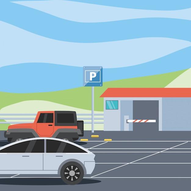 券売機とバリケードシーンのある駐車場 Premiumベクター