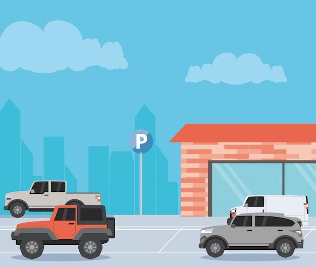 駐車場の都市景観図 Premiumベクター