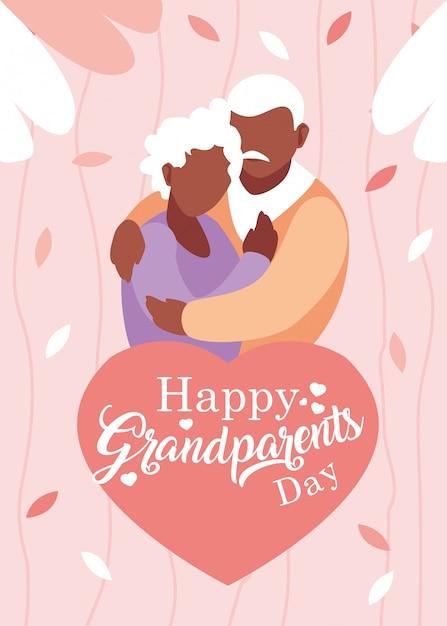老夫婦と幸せな祖父母の日のポスターを抱きしめ Premiumベクター
