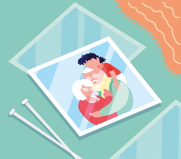 Фото милой старой пары обнимали с внуком Premium векторы