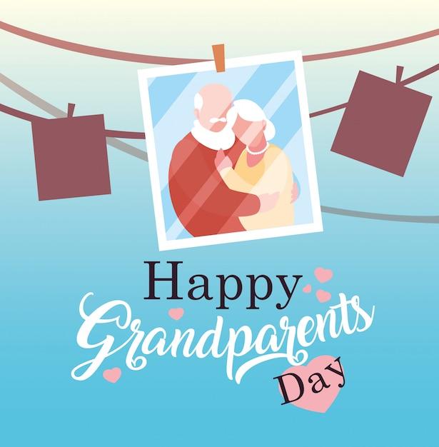 写真の古いカップルぶら下げと幸せな祖父母の日のポスター Premiumベクター