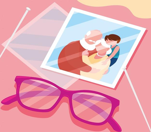 Фото милой старой пары обнял в очках Premium векторы