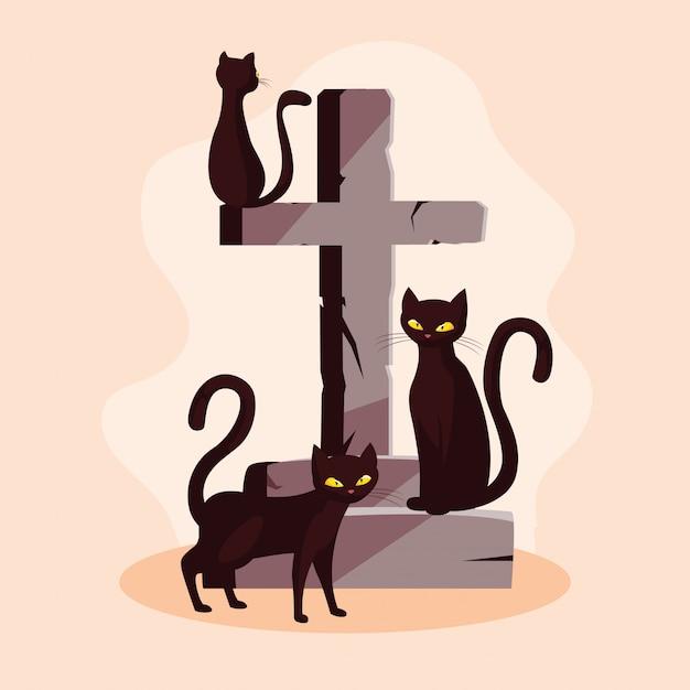 猫の猫のハロウィーンの動物のクロスストーン Premiumベクター