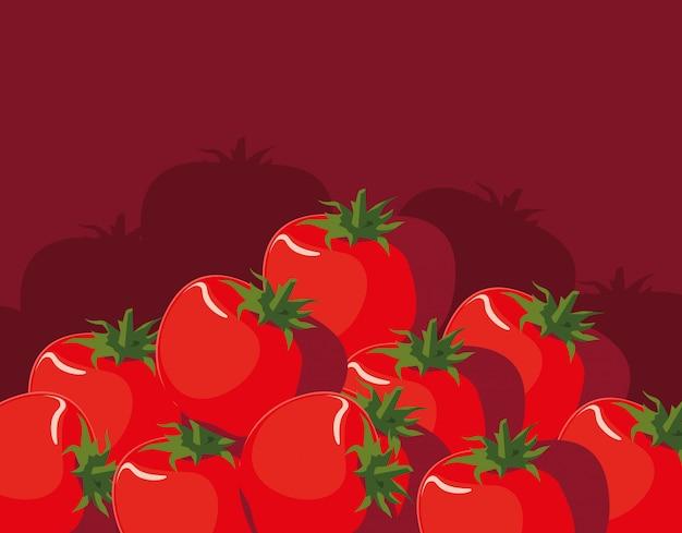 新鮮な赤いトマト野菜のパターン Premiumベクター
