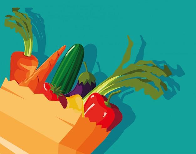 新鮮な野菜の入った袋紙 Premiumベクター