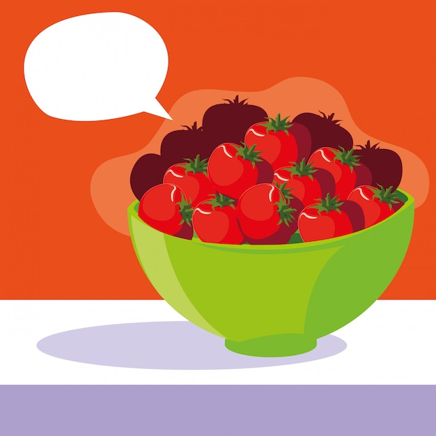 吹き出しと新鮮な赤いトマトをボウルします。 Premiumベクター