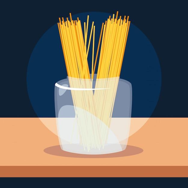 Свежие традиционные спагетти в стеклянной таре Premium векторы