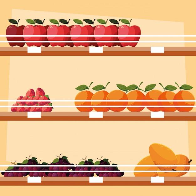 木製の棚に新鮮な果物を保管 Premiumベクター