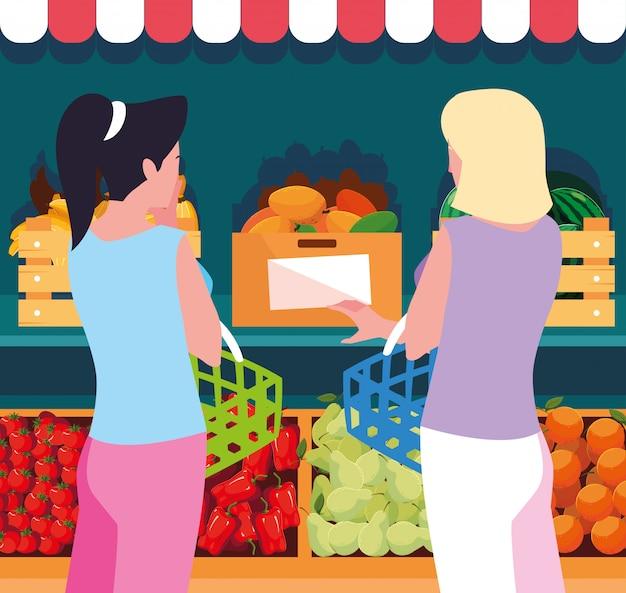 Покупатель женщины с витриной деревянного магазина с овощами Premium векторы