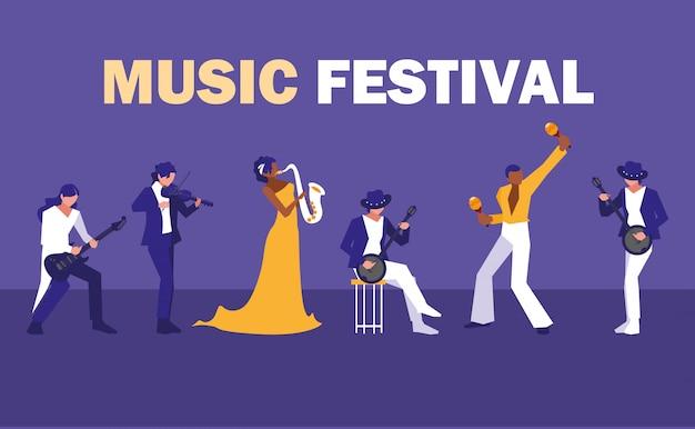 アーティストのグループとの音楽祭 Premiumベクター