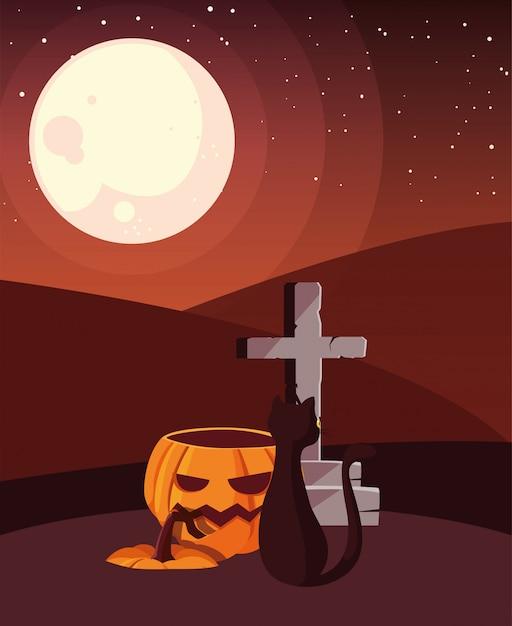 かぼちゃ猫の幸せなハロウィーンのお祝い Premiumベクター