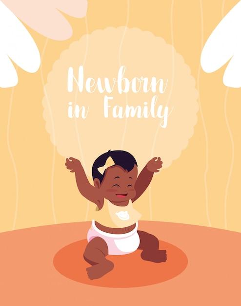 アフロの女の赤ちゃんと家族カードで新生児 Premiumベクター