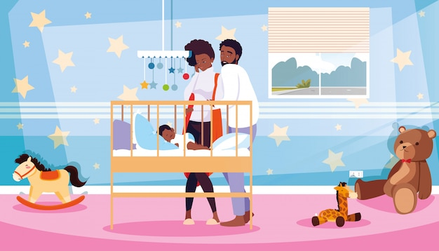 部屋で寝ている新生児を観察する親 Premiumベクター