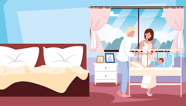 Родители наблюдают за спящим мальчиком в комнате Premium векторы