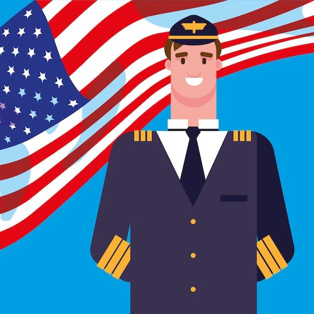アメリカの国旗を持つ男パイロット Premiumベクター