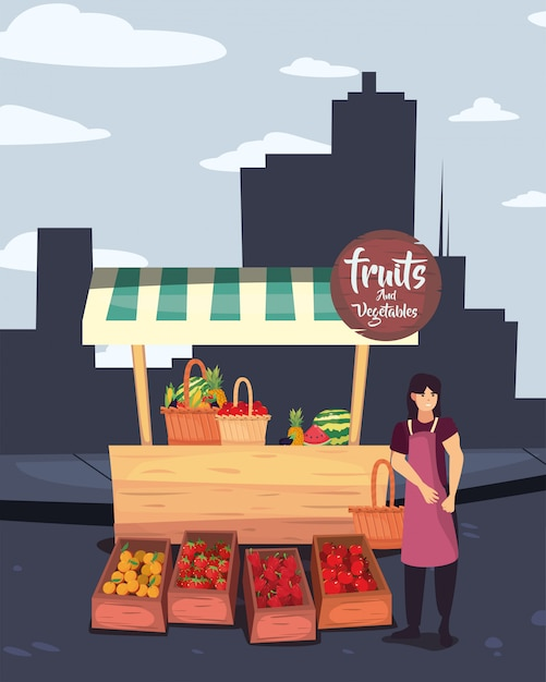 Уличный рынок коммерция плоский дизайн Premium векторы