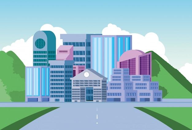 道路と都市景観の建物シーン日 Premiumベクター
