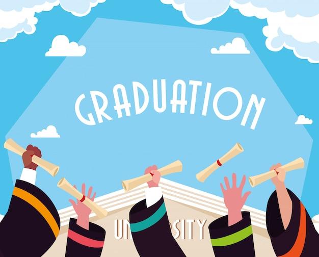 お祝いの卒業証書 Premiumベクター