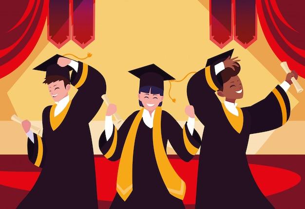 お祝いの学生を卒業 Premiumベクター