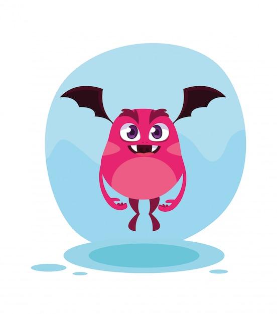 Мультфильм розовый монстр Premium векторы