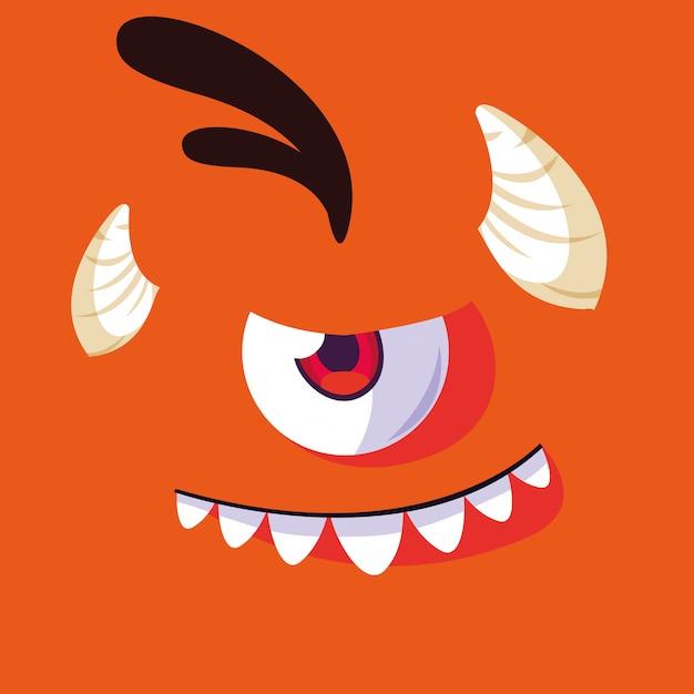 Мультфильм оранжевый монстр Premium векторы