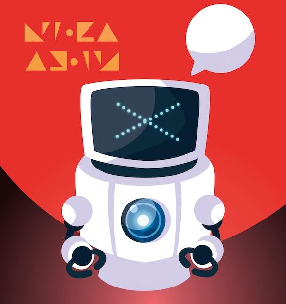 赤でロボット漫画 Premiumベクター