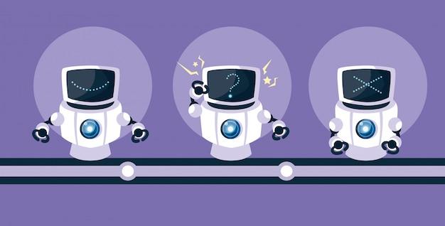 Технология робота мультфильм над фиолетовым Premium векторы