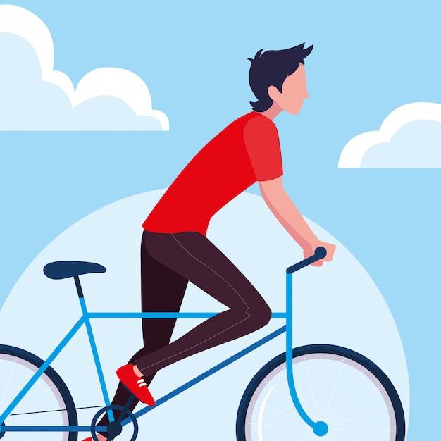 若い男が空と雲と自転車に乗る Premiumベクター