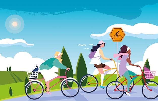 Женщины езда на велосипеде в пейзаж с вывесок для велосипедиста Premium векторы