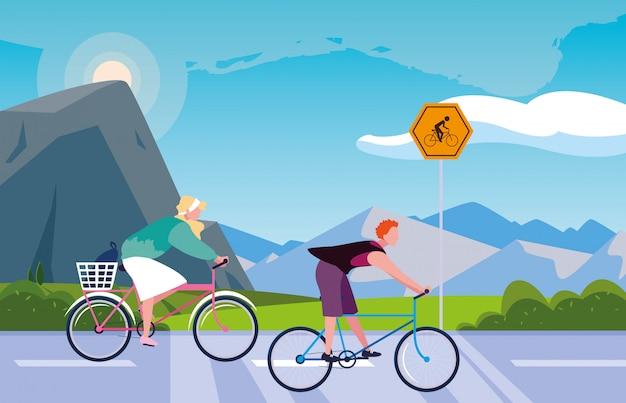 Пара езда на велосипеде в пейзаж с вывесок для велосипедиста Premium векторы