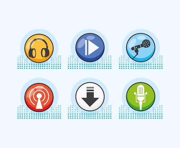 デジタルオーディオスタジオのアイコンを設定します Premiumベクター