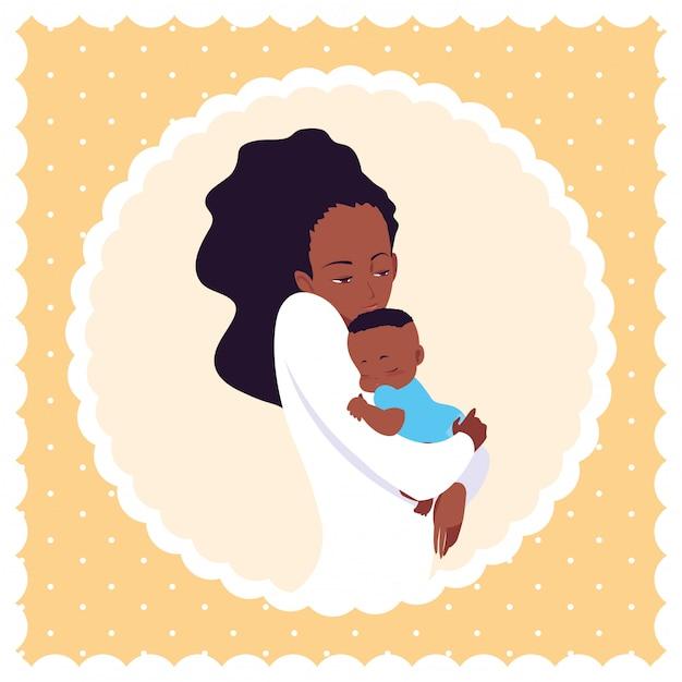 Милая мама афро с маленьким сыном в рамке круговой Premium векторы