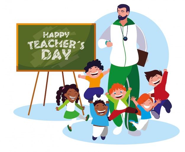 Счастливый день учителя с учителем и учениками Premium векторы
