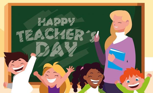 Счастливый день открытка с учительницей и студентами Premium векторы