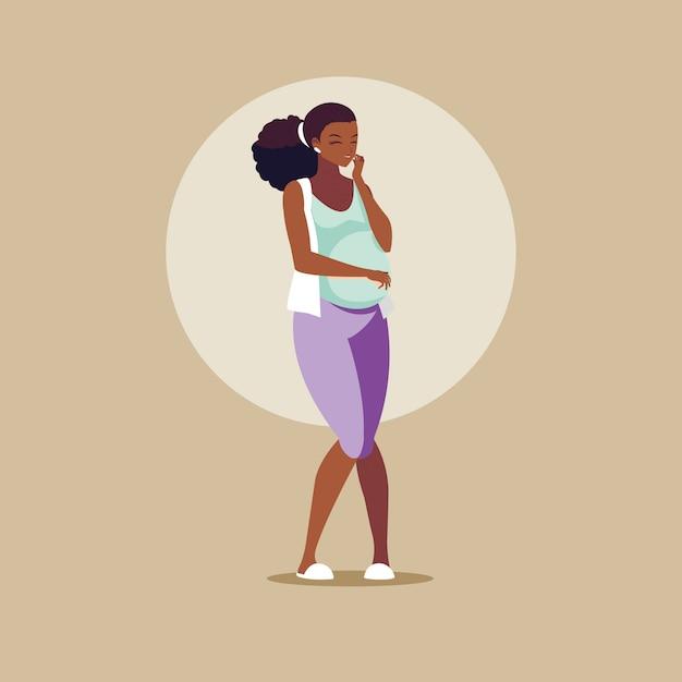 Беременная афро женщина аватар персонажа Premium векторы