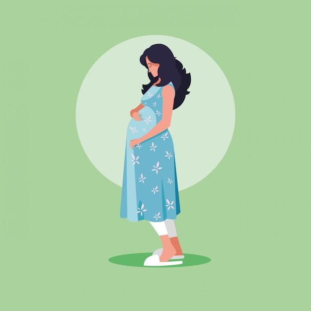 Беременная женщина аватар персонажа значок вектор иллюстрация Premium векторы