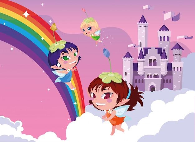 雲と空の城のおとぎ話の妖精 Premiumベクター
