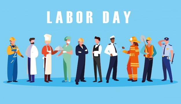 グループの専門家との労働者の日のお祝い Premiumベクター