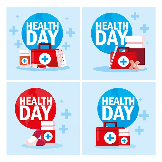 Набор открыток всемирного дня здоровья Premium векторы