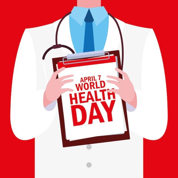 Всемирный день здоровья с доктором Premium векторы