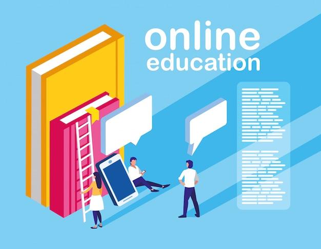 スマートフォンと電子書籍を備えたオンライン教育ミニの人々 Premiumベクター