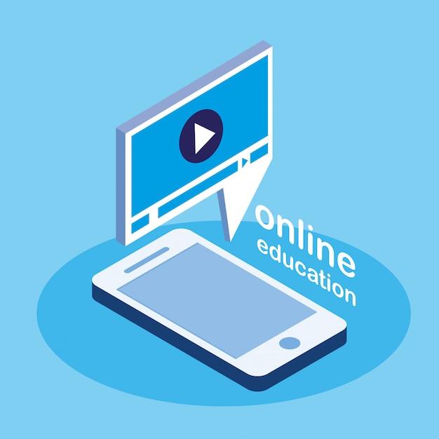 スマートフォンでのオンライン教育 Premiumベクター