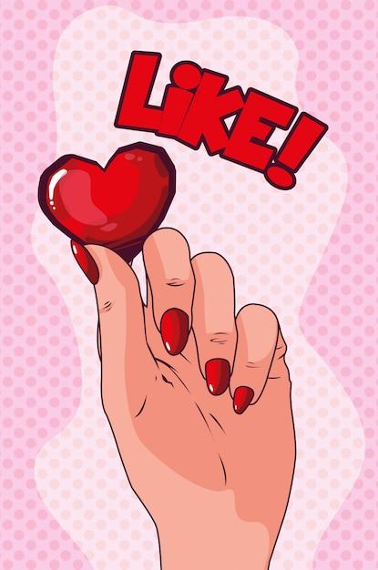 Рука, поднимающая сердце в стиле поп арт Premium векторы