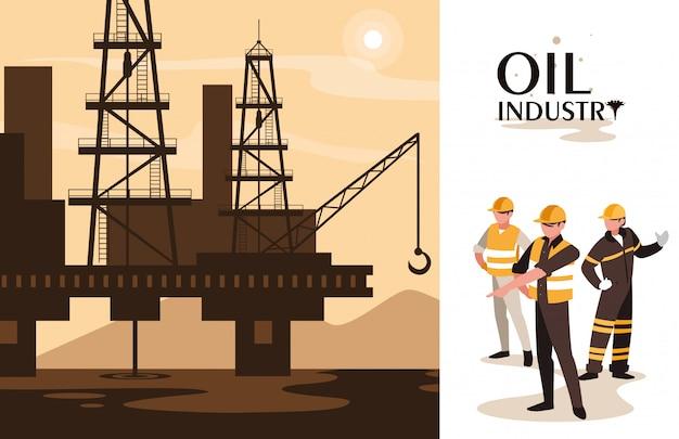Сцена нефтяной промышленности с морской платформой и рабочими Premium векторы