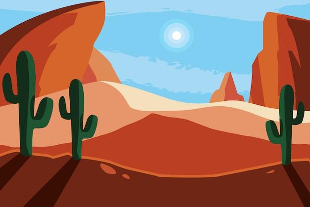 砂漠の風景のシーンの背景 Premiumベクター