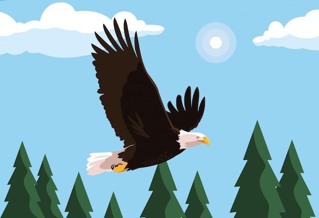 Птица белоголового орлана летит с ландшафтом Premium векторы
