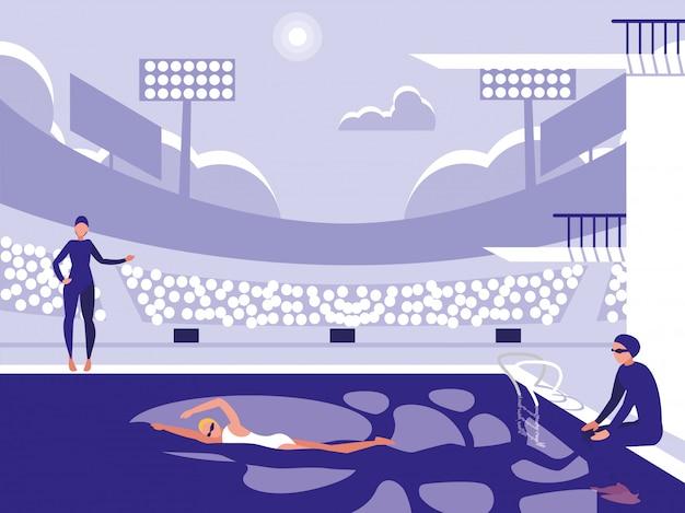 ダイビング競技のためのプールのプレーヤー Premiumベクター