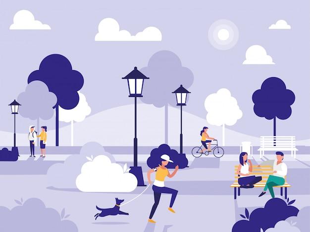 椅子とランプのある公園の人々 Premiumベクター
