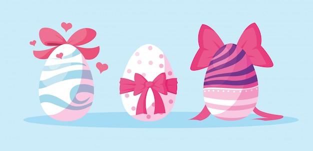 Набор украшенных пасхальных яиц Premium векторы